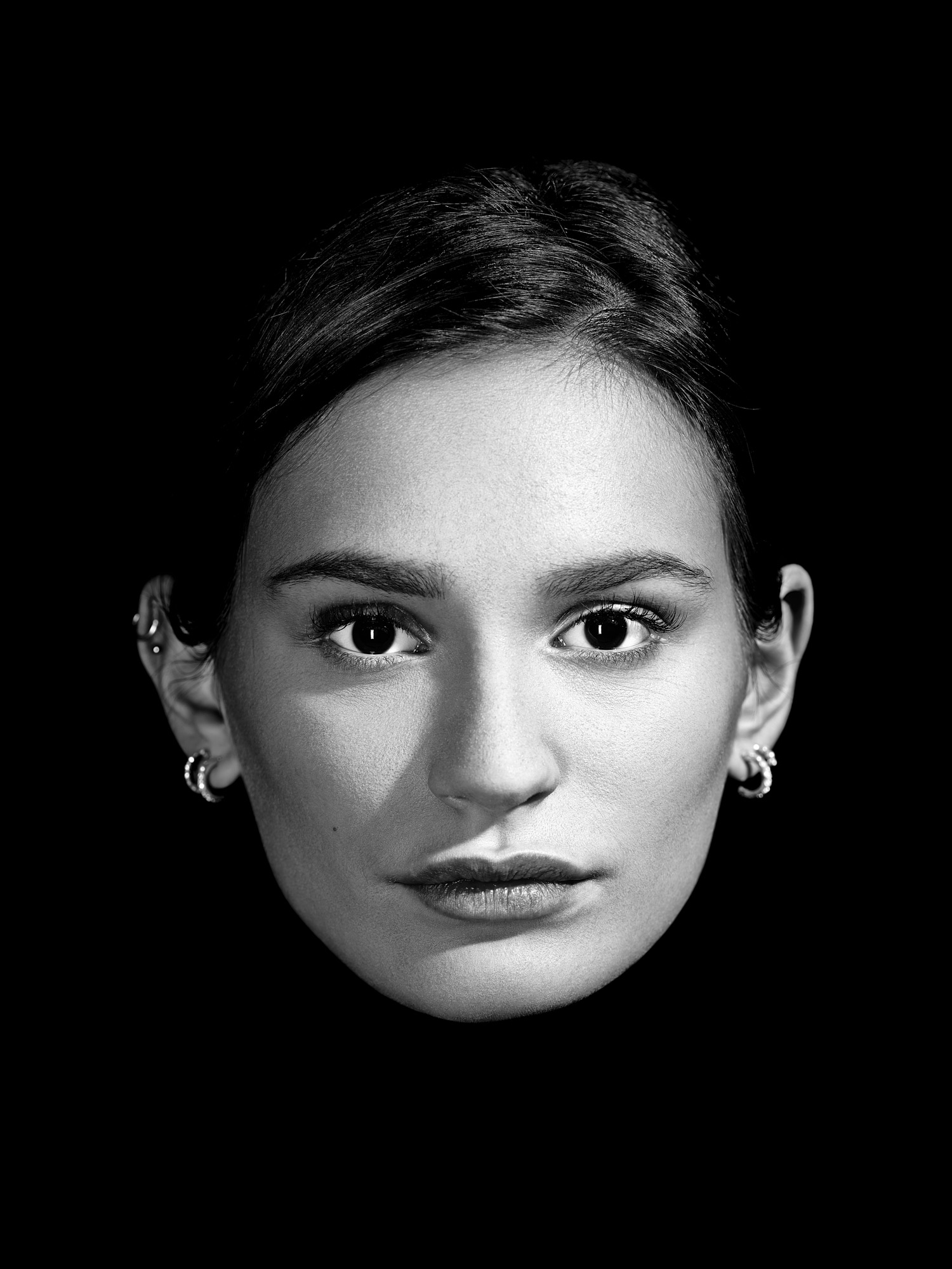 Close-up black and white portrait in studio for a McDonald's internal campaign