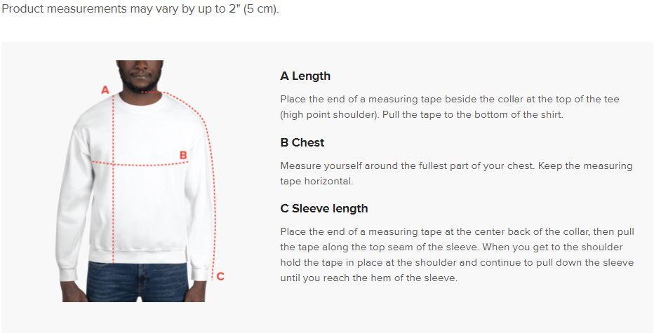 91 APPAREL Sweatshirt Size Guide