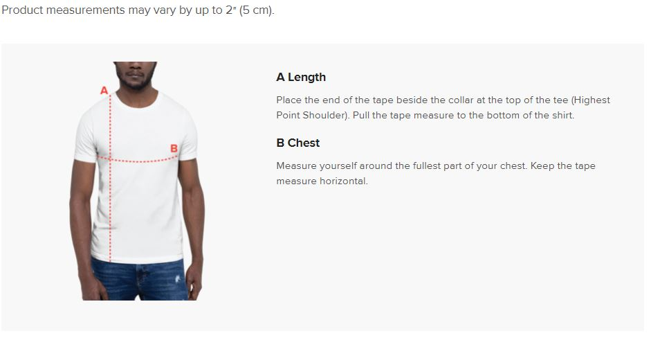 91 APPAREL T-Shirt Size Guide