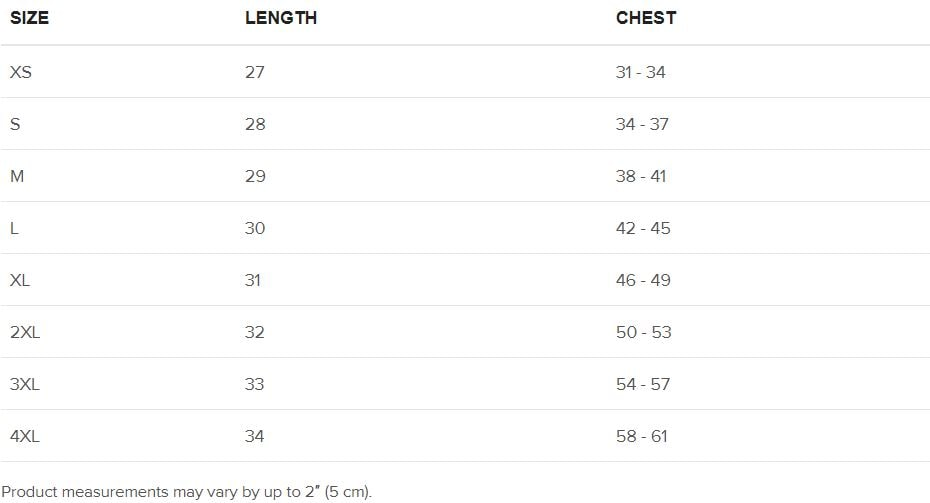 91 APPAREL T- Shirt Size Guide
