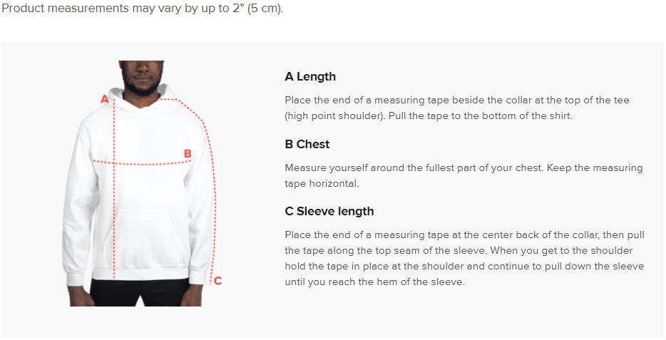 91 APPAREL Hooded Sweatshirt Size Guide