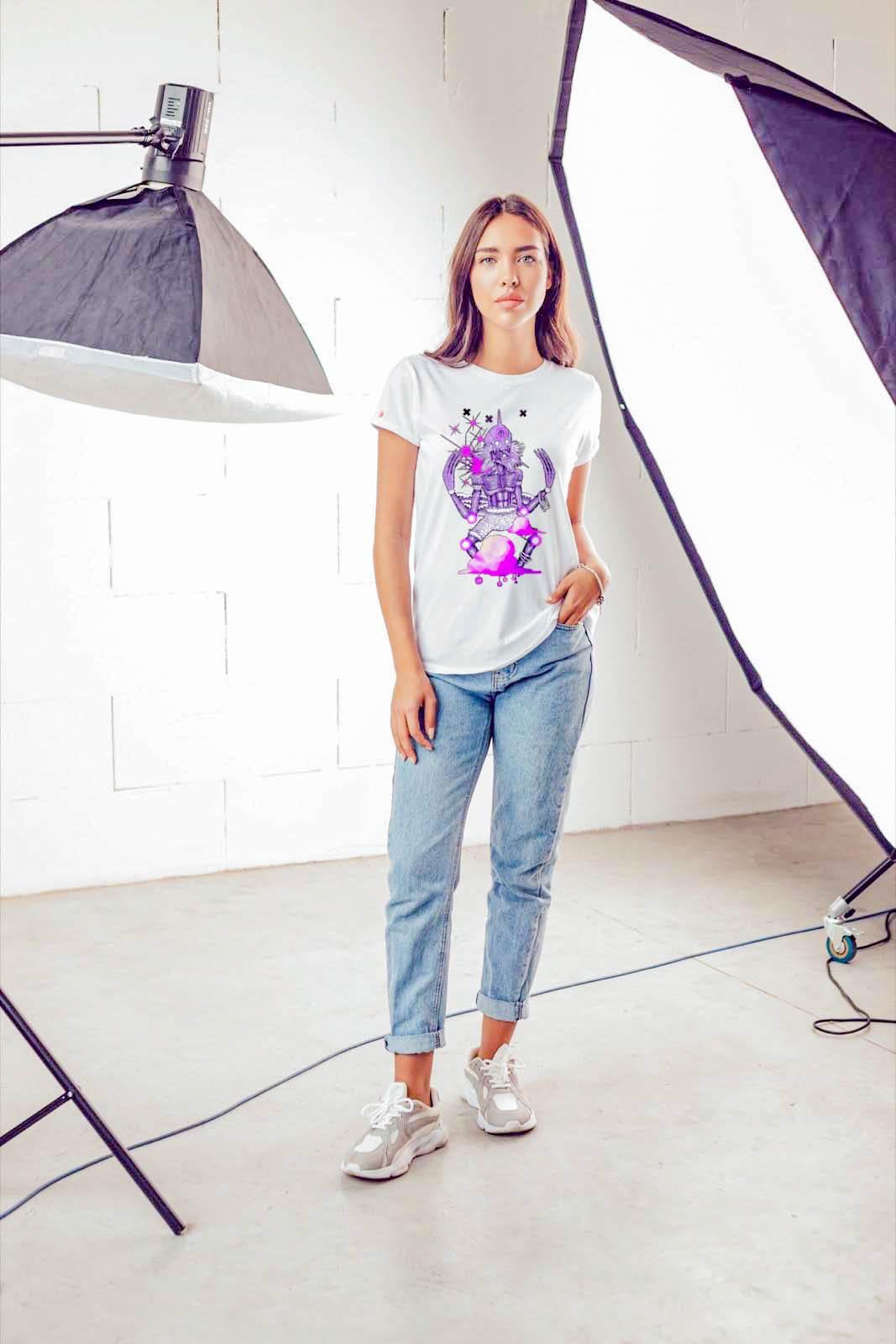 Beautiful woman in photo shoot wearing shirt by 91 APPAREL