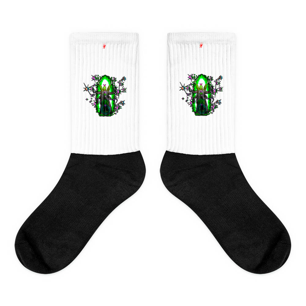 These socks are extra comfortable thanks to their cushioned bottom. The sole is black so never mind the muck! Our artwork printed along the side with crisp, bold colors that are guaranteed to stand out. British unisex fashion house 91 Apparel was originally founded EST. 1991 Work your magic all the time. • Art. no. 10 • Crew length • Machine wash inside out • Cushioned bottom • Ribbed leg • Cold wash with like colors and hang dry • 91 APPAREL logo • Beautiful colors and bold design • Materials ethically sourced from Spain