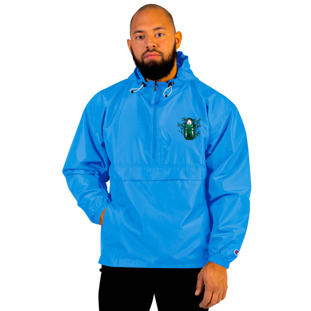 """Protect yourself from the elements with this Champion packable jacket. This wind and rain resistant polyester jacket with a detailed embroidery design has a practical hood, front kangaroo pocket. British unisex retail house 91 Apparel was originally founded in 1991. We want you to flow with your magic all the time. • Art. no. 10 • Wind and rain resistant • Front kangaroo pocket • Hidden zipped pouch pocket • Packable in the zipped pouch pocket • Adjustable bungee draw cord at hood and bottom hem • Embroidered """"C"""" logo on the left sleeve • Beautiful colors and bold design • Materials ethically sourced from Spain"""