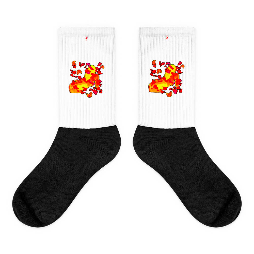 These socks are extra comfortable thanks to their cushioned bottom. The sole is black so never mind the muck! Our artwork printed along the side with crisp, bold colors that are guaranteed to stand out. British unisex fashion house 91 Apparel was originally founded EST. 1991 Work your magic all the time. • Art. no. 13 • Crew length • Machine wash inside out • Cushioned bottom • Ribbed leg • Cold wash with like colors and hang dry • 91 APPAREL logo • Beautiful colors and bold design • Materials ethically sourced from Spain