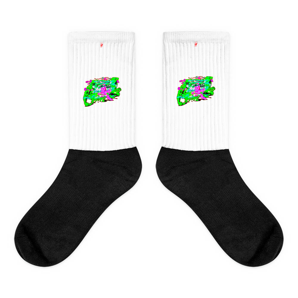 These socks are extra comfortable thanks to their cushioned bottom. The sole is black so never mind the muck! Our artwork printed along the side with crisp, bold colors that are guaranteed to stand out. British unisex fashion house 91 Apparel was originally founded EST. 1991 Work your magic all the time. • Art. no. 14 • Crew length • Machine wash inside out • Cushioned bottom • Ribbed leg • Cold wash with like colors and hang dry • 91 APPAREL logo • Beautiful colors and bold design • Materials ethically sourced from Spain