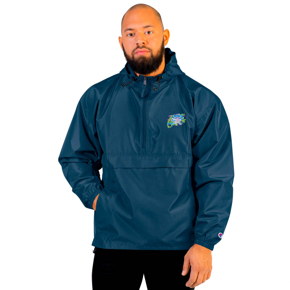 """Protect yourself from the elements with this Champion packable jacket. This wind and rain resistant polyester jacket with a detailed embroidery design has a practical hood, front kangaroo pocket. British unisex retail house 91 Apparel was originally founded in 1991. We want you to flow with your magic all the time. • Art. no. 14 • Wind and rain resistant • Front kangaroo pocket • Hidden zipped pouch pocket • Packable in the zipped pouch pocket • Adjustable bungee draw cord at hood and bottom hem • Embroidered """"C"""" logo on the left sleeve • Beautiful colors and bold design • Materials ethically sourced from Spain"""