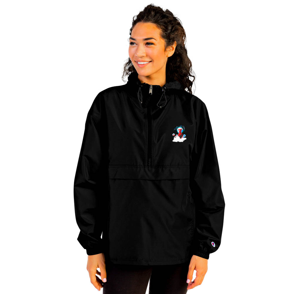 """Protect yourself from the elements with this Champion packable jacket. This wind and rain resistant polyester jacket with a detailed embroidery design has a practical hood, front kangaroo pocket. British unisex retail house 91 Apparel was originally founded in 1991. We want you to flow with your magic all the time. • Art. no. 15 • Wind and rain resistant • Front kangaroo pocket • Hidden zipped pouch pocket • Packable in the zipped pouch pocket • Adjustable bungee draw cord at hood and bottom hem • Embroidered """"C"""" logo on the left sleeve • Beautiful colors and bold design • Materials ethically sourced from Spain"""
