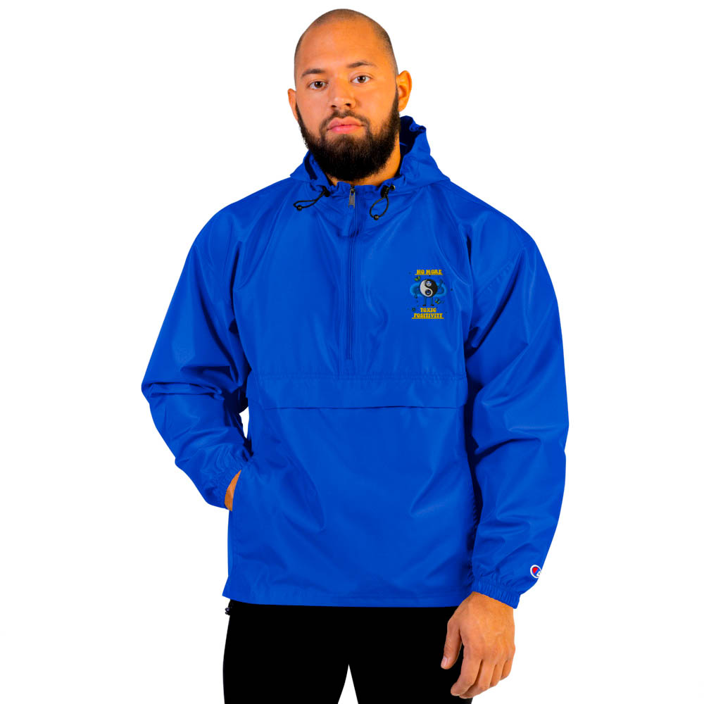 """Protect yourself from the elements with this Champion packable jacket. This wind and rain resistant polyester jacket with a detailed embroidery design has a practical hood, front kangaroo pocket. British unisex retail house 91 Apparel was originally founded in 1991. We want you to flow with your magic all the time. • Art. no. 16 • Wind and rain resistant • Front kangaroo pocket • Hidden zipped pouch pocket • Packable in the zipped pouch pocket • Adjustable bungee draw cord at hood and bottom hem • Embroidered """"C"""" logo on the left sleeve • Beautiful colors and bold design • Materials ethically sourced from Spain"""