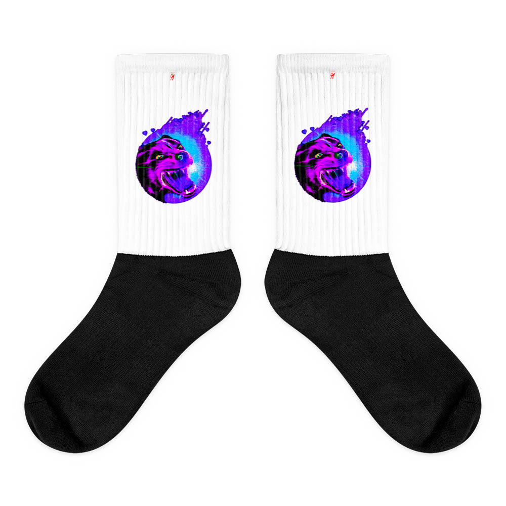 These socks are extra comfortable thanks to their cushioned bottom. The sole is black so never mind the muck! Our artwork printed along the side with crisp, bold colors that are guaranteed to stand out. British unisex fashion house 91 Apparel was originally founded EST. 1991 Work your magic all the time. • Art. no. 17 • Crew length • Machine wash inside out • Cushioned bottom • Ribbed leg • Cold wash with like colors and hang dry • 91 APPAREL logo • Beautiful colors and bold design • Materials ethically sourced from Spain