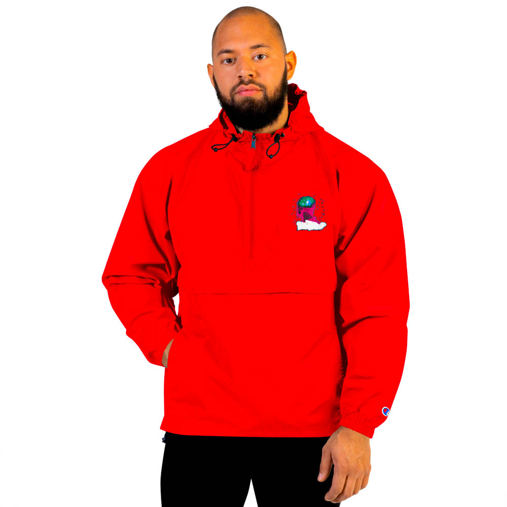 """Protect yourself from the elements with this Champion packable jacket. This wind and rain resistant polyester jacket with a detailed embroidery design has a practical hood, front kangaroo pocket. British unisex retail house 91 Apparel was originally founded in 1991. We want you to flow with your magic all the time. • Art. no. 18 • Wind and rain resistant • Front kangaroo pocket • Hidden zipped pouch pocket • Packable in the zipped pouch pocket • Adjustable bungee draw cord at hood and bottom hem • Embroidered """"C"""" logo on the left sleeve • Beautiful colors and bold design • Materials ethically sourced from Spain"""