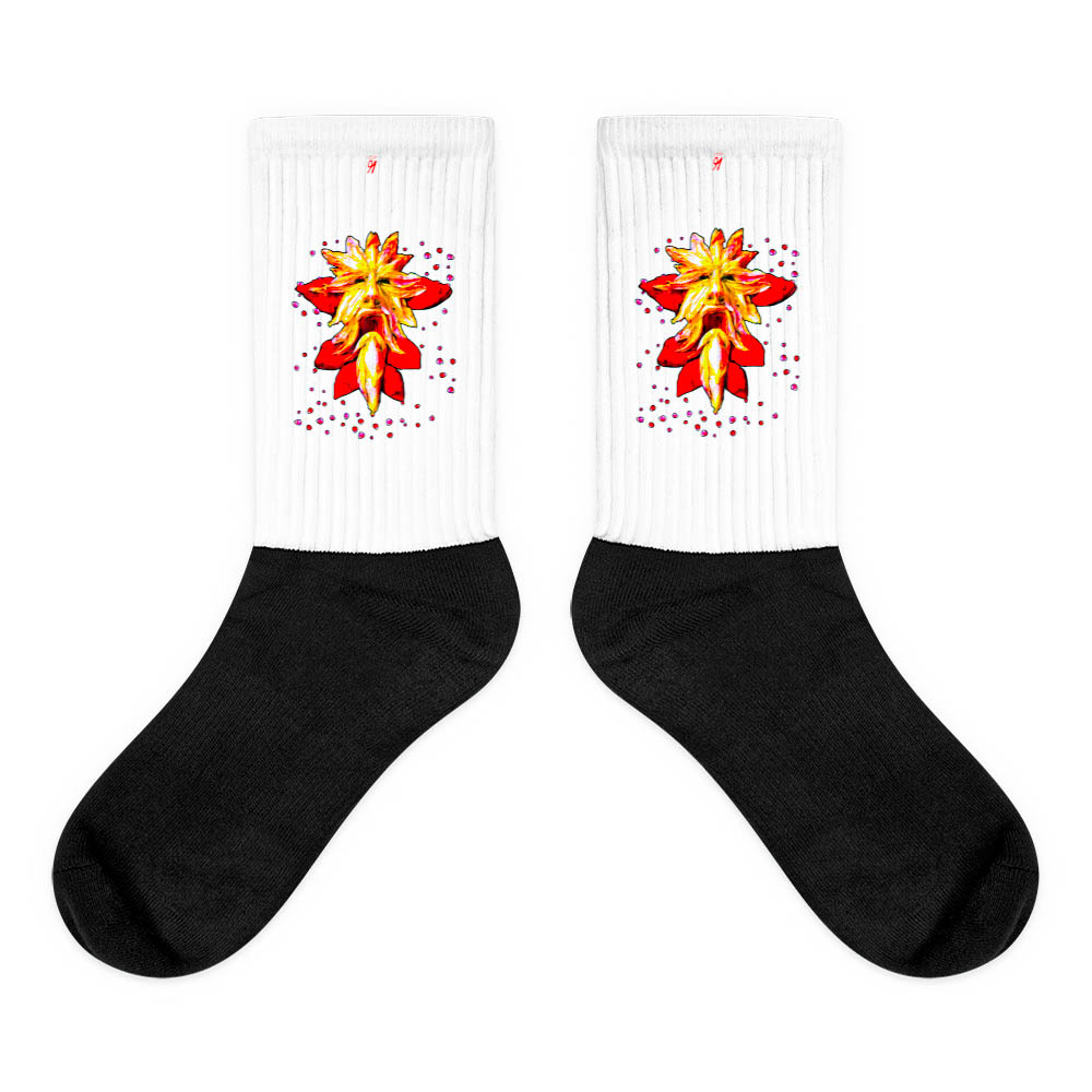 These socks are extra comfortable thanks to their cushioned bottom. The sole is black so never mind the muck! Our artwork printed along the side with crisp, bold colors that are guaranteed to stand out. British unisex fashion house 91 Apparel was originally founded EST. 1991 Work your magic all the time. • Art. no. 20 • Crew length • Machine wash inside out • Cushioned bottom • Ribbed leg • Cold wash with like colors and hang dry • 91 APPAREL logo • Beautiful colors and bold design • Materials ethically sourced from Spain