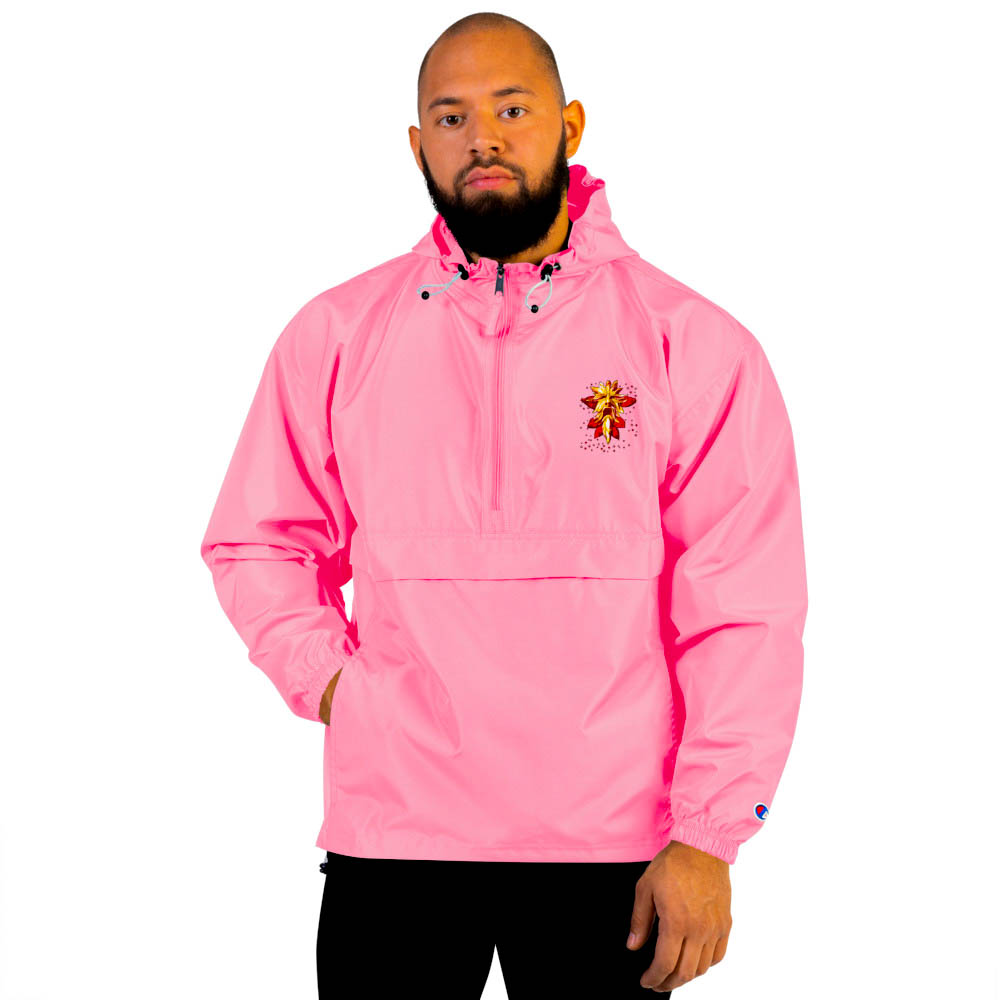 """Protect yourself from the elements with this Champion packable jacket. This wind and rain resistant polyester jacket with a detailed embroidery design has a practical hood, front kangaroo pocket. British unisex retail house 91 Apparel was originally founded in 1991. We want you to flow with your magic all the time. • Art. no. 20 • Wind and rain resistant • Front kangaroo pocket • Hidden zipped pouch pocket • Packable in the zipped pouch pocket • Adjustable bungee draw cord at hood and bottom hem • Embroidered """"C"""" logo on the left sleeve • Beautiful colors and bold design • Materials ethically sourced from Spain"""