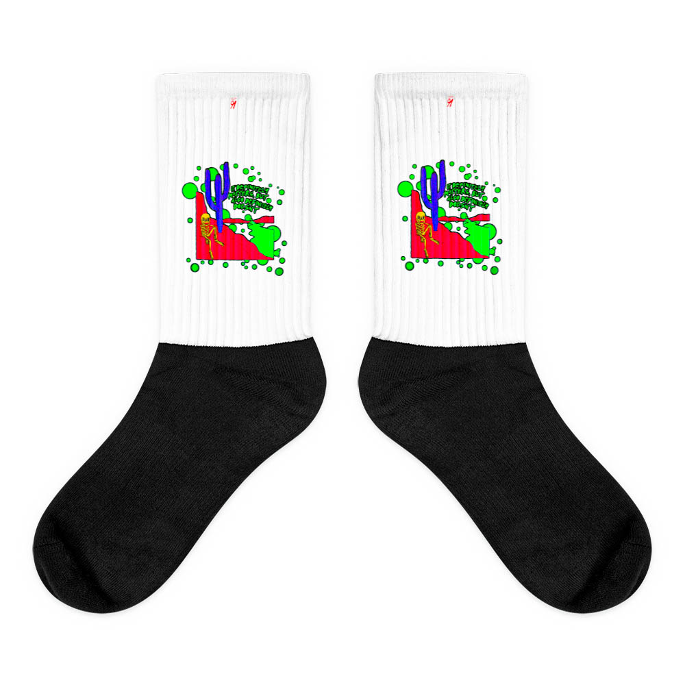 These socks are extra comfortable thanks to their cushioned bottom. The sole is black so never mind the muck! Our artwork printed along the side with crisp, bold colors that are guaranteed to stand out. British unisex fashion house 91 Apparel was originally founded EST. 1991 Work your magic all the time. • Art. no. 21 • Crew length • Machine wash inside out • Cushioned bottom • Ribbed leg • Cold wash with like colors and hang dry • 91 APPAREL logo • Beautiful colors and bold design • Materials ethically sourced from Spain