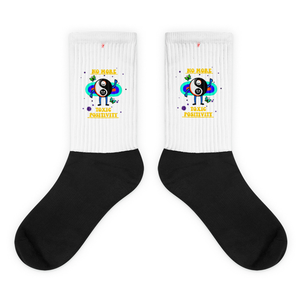 These socks are extra comfortable thanks to their cushioned bottom. The sole is black so never mind the muck! Our artwork printed along the side with crisp, bold colors that are guaranteed to stand out. British unisex fashion house 91 Apparel was originally founded EST. 1991 Work your magic all the time. • Art. no. 16 • Crew length • Machine wash inside out • Cushioned bottom • Ribbed leg • Cold wash with like colors and hang dry • 91 APPAREL logo • Beautiful colors and bold design • Materials ethically sourced from Spain