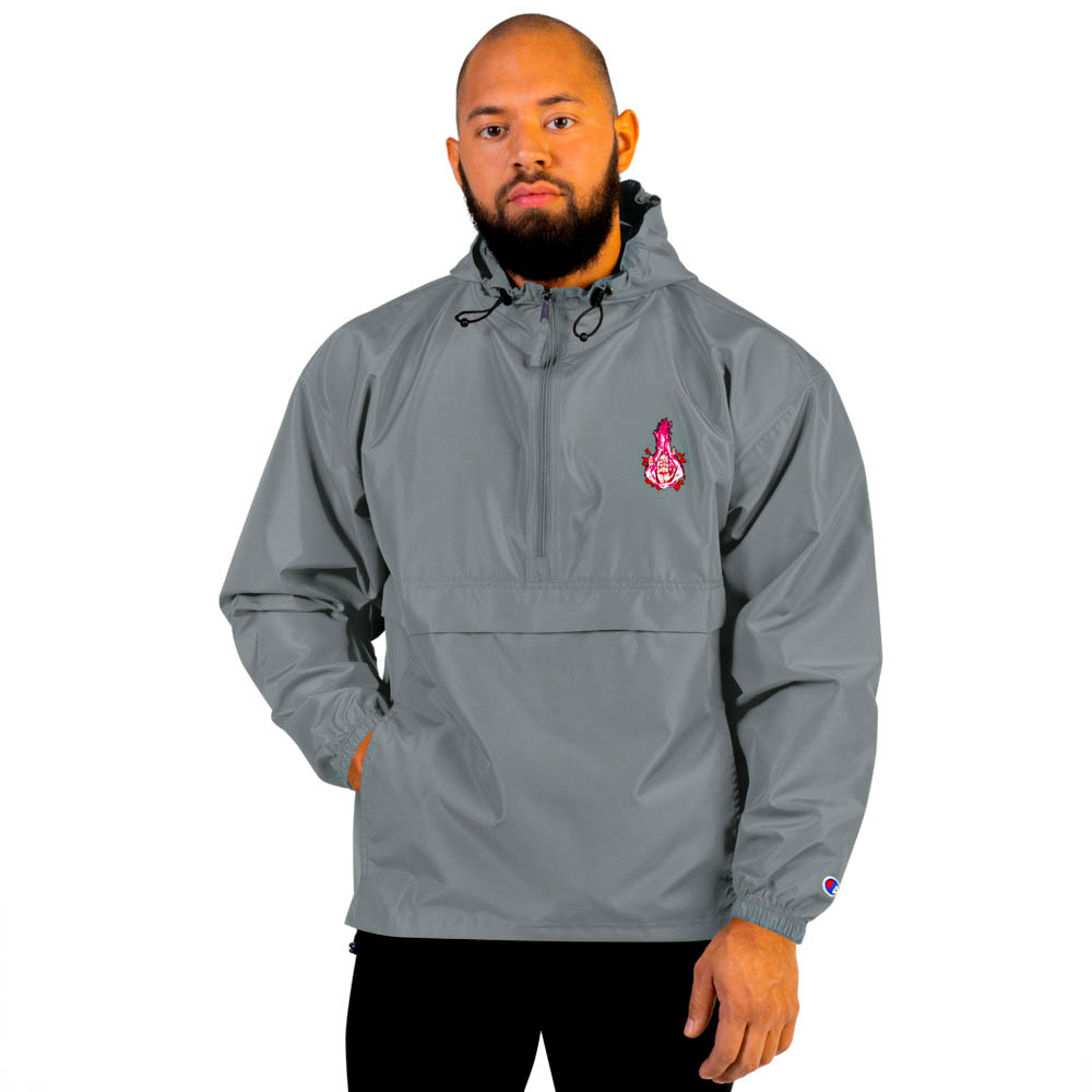 """Protect yourself from the elements with this Champion packable jacket. This wind and rain resistant polyester jacket with a detailed embroidery design has a practical hood, front kangaroo pocket. British unisex retail house 91 Apparel was originally founded in 1991. We want you to flow with your magic all the time. • Art. no. 24 • Wind and rain resistant • Front kangaroo pocket • Hidden zipped pouch pocket • Packable in the zipped pouch pocket • Adjustable bungee draw cord at hood and bottom hem • Embroidered """"C"""" logo on the left sleeve • Beautiful colors and bold design • Materials ethically sourced from Spain"""