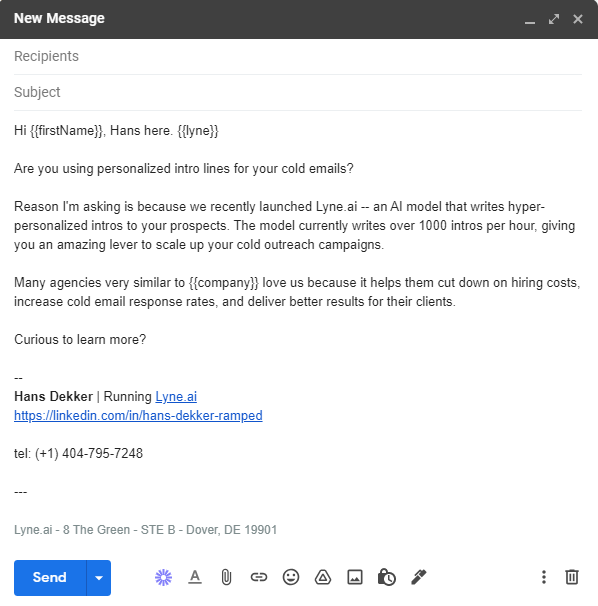 cold email intro line writer