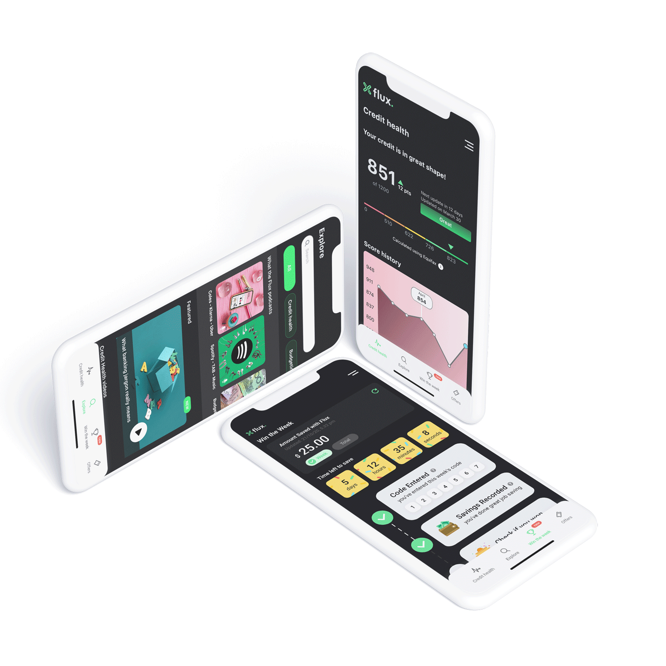 Three mobile phones with Flux App