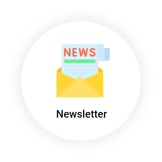 """Newsletter"" button with a newspaper in an envelope icon"