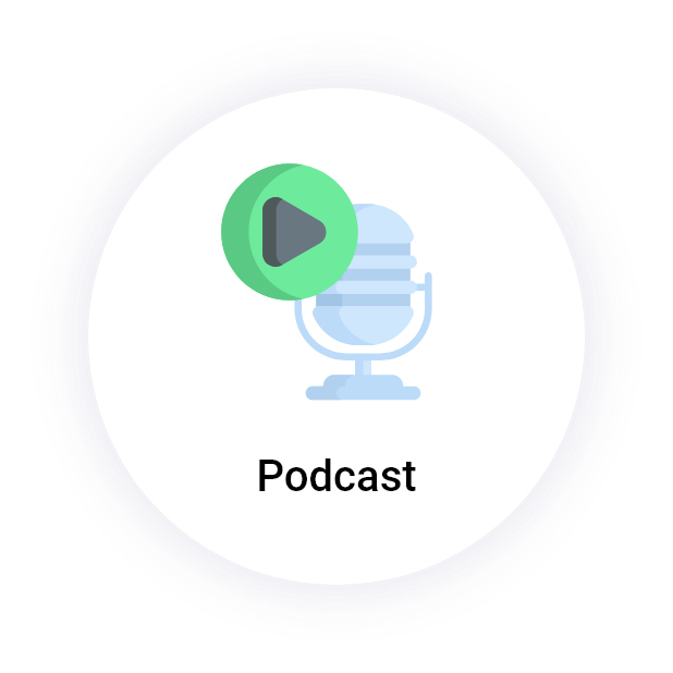"""Podcast"" button with a microphone"