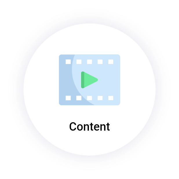 """Content"" button with a play video icon"