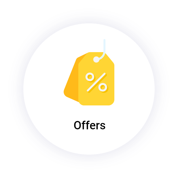 """Offers"" Button with a price tag icon"