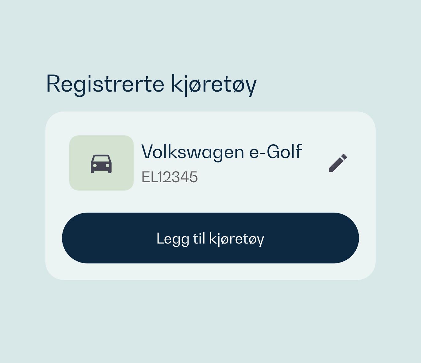 Skjermbilde av hvordan beboere registrerer kjøretøy i appen