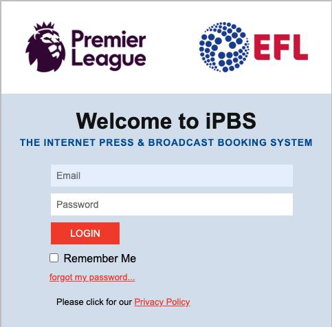 iPBS Club Login Screen