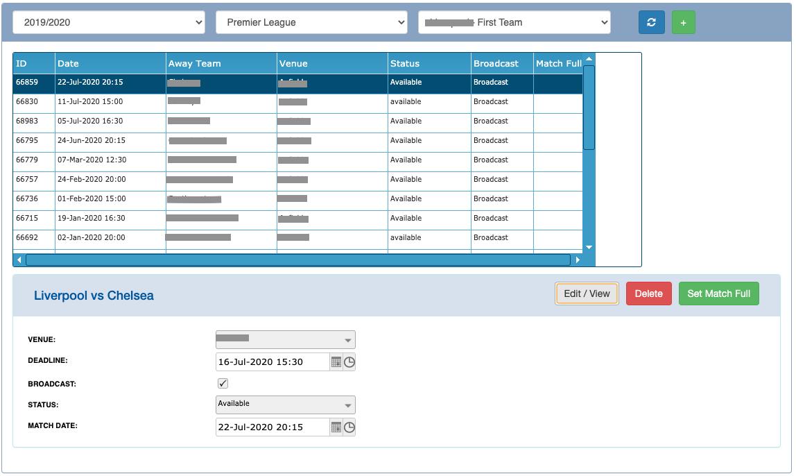 iPBS Club Admin Edit Match