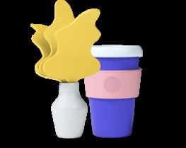 Illustration plante et gobelet