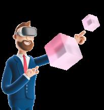 Logo homme faisant de la VR