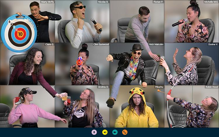 les collègues de l'agence banana events sont en train de se marrer avec une animation de team building en visio