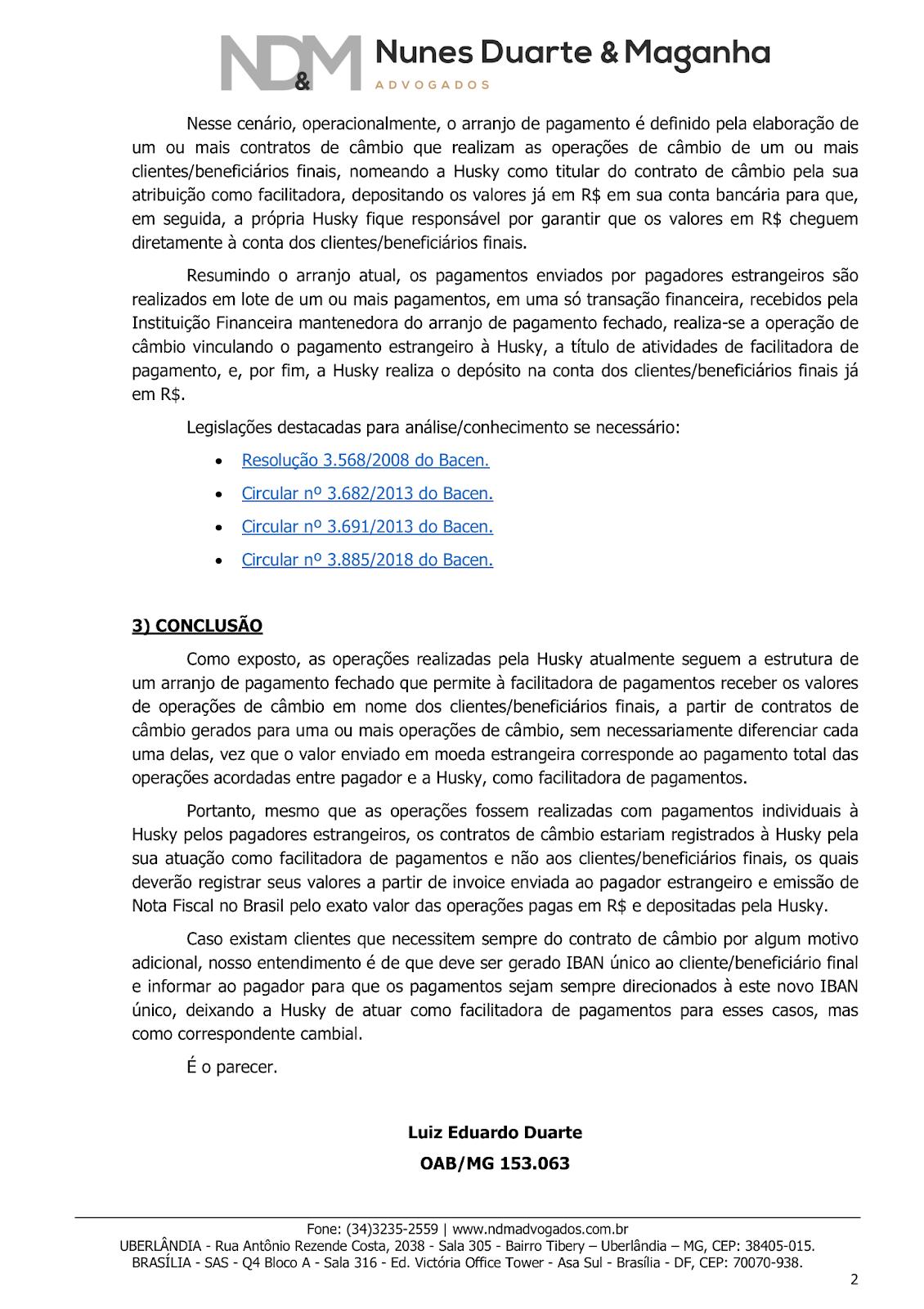 Parecer consultivo jurídico - Contratos de câmbio Husky - Pt2