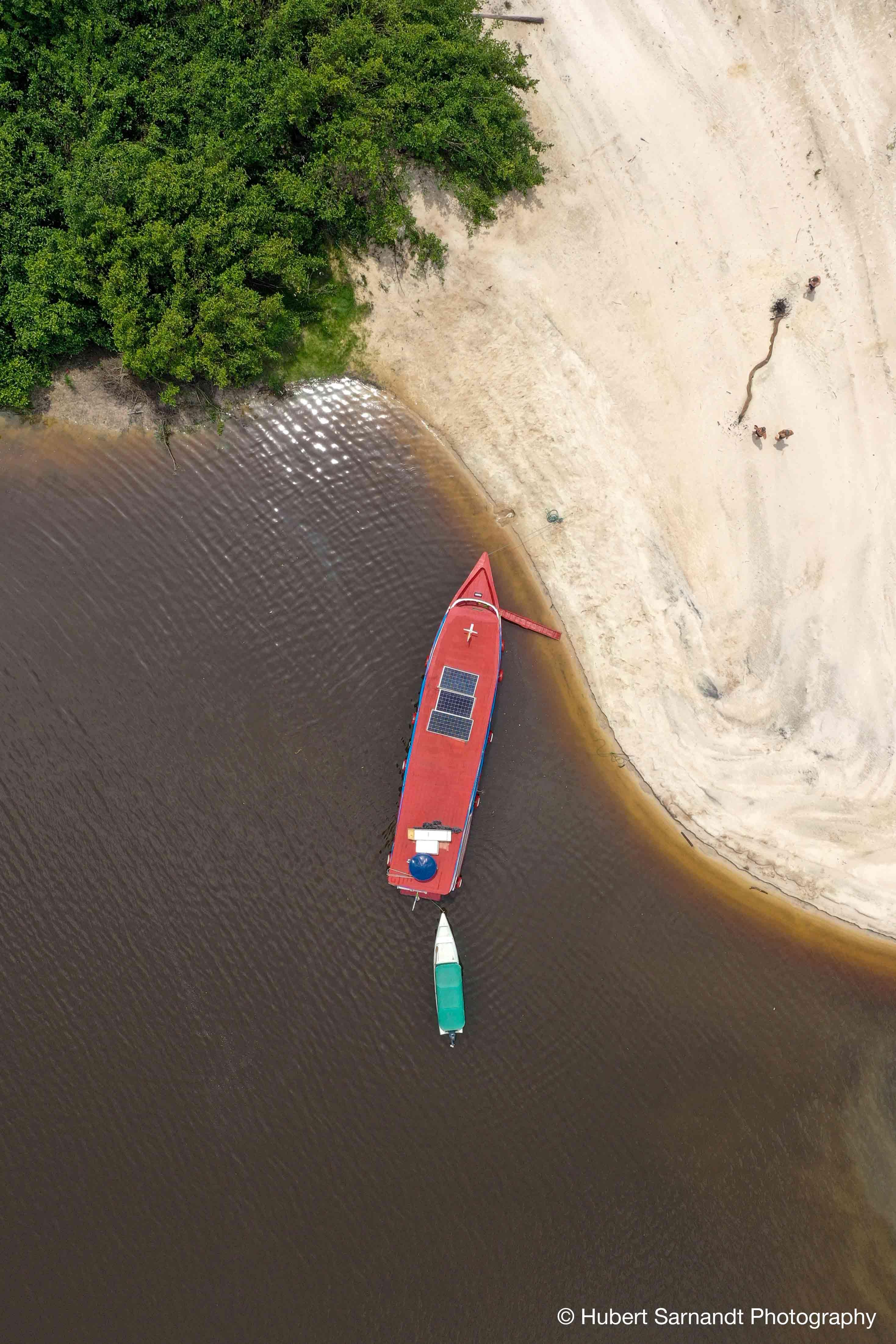 Boat in Rio Negro Amazon Rainforest Brazil