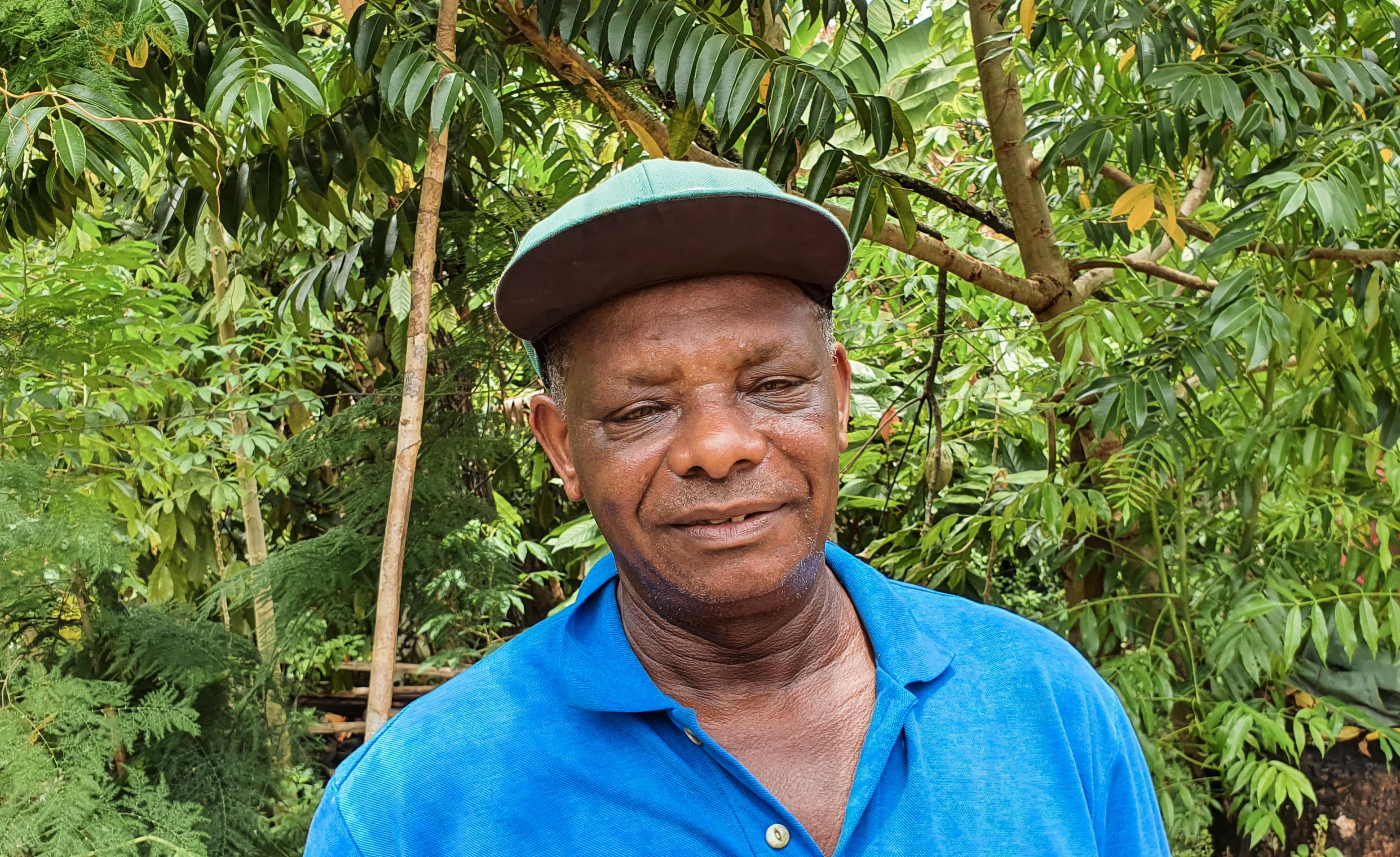 Mr. Juvenal on his organic cacao farm in Bahia Brazil Atlantic Rainforest