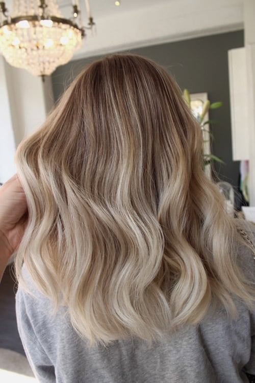Balayage varm blondin