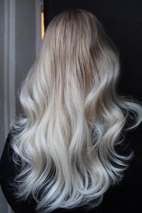 Foilayage blondin långt hår