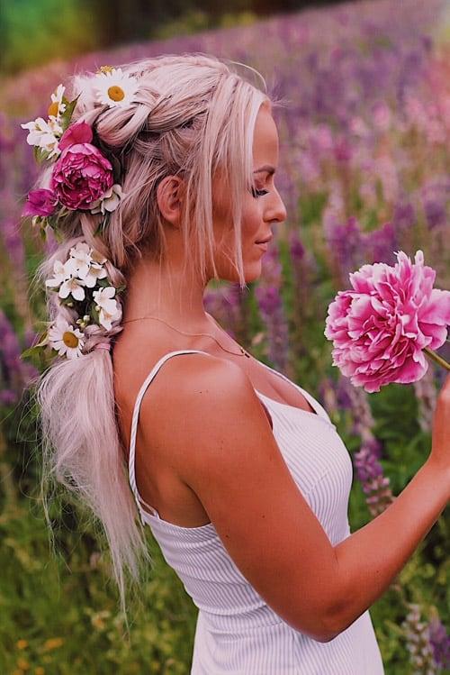Inspo fläta med blommor