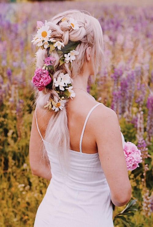 Fläta med blommor bröllop