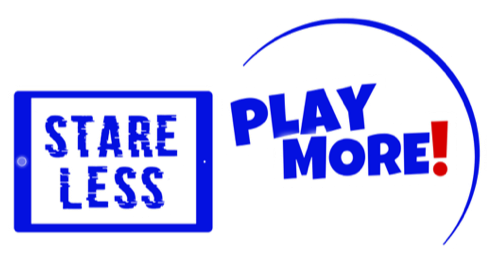 Stare Less/Play More Logo