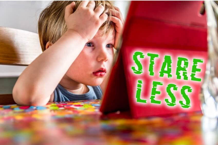Stare Less: Boy staring at table screen