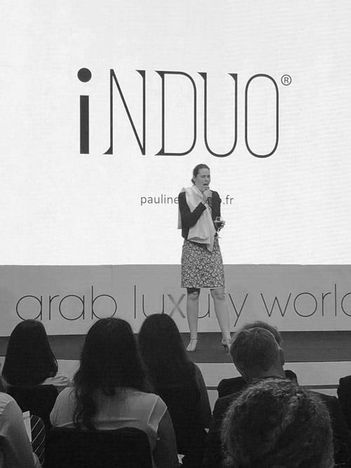 Pauline on stage at Arab Luxury World