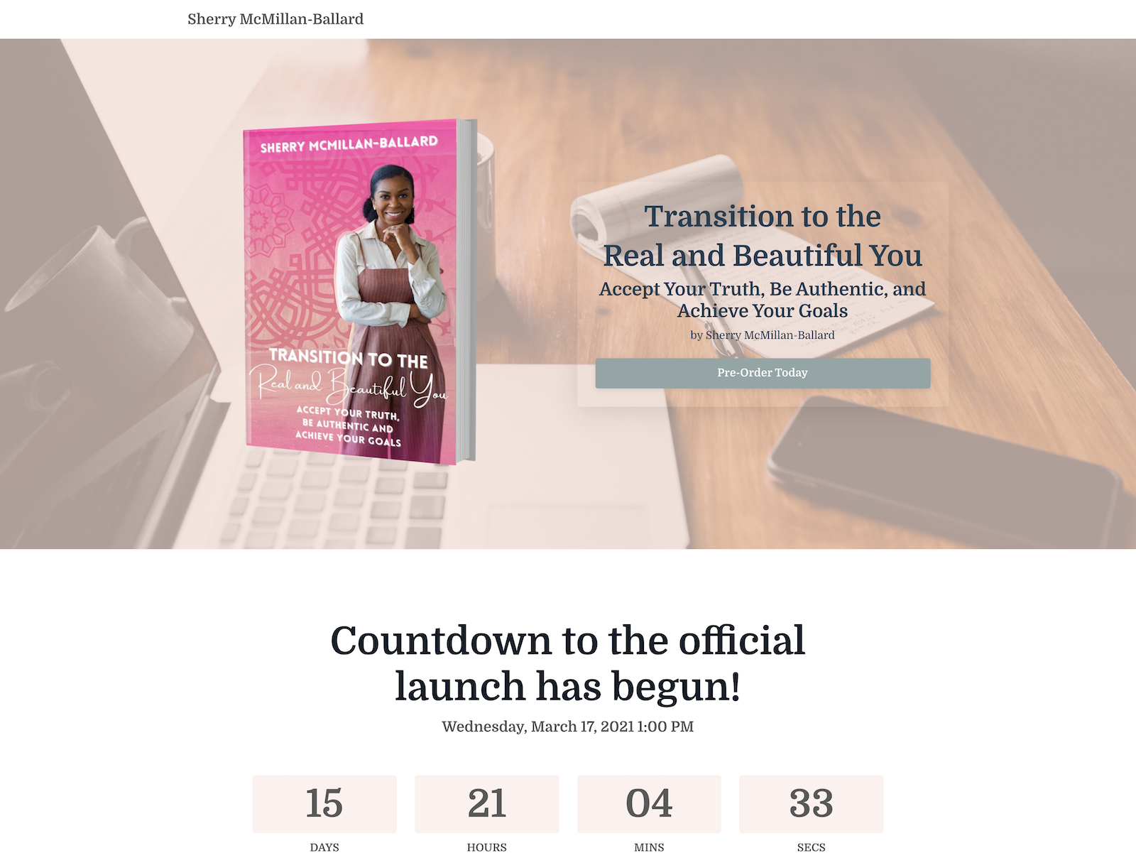 pink book cover on transparent background with a countdown clock