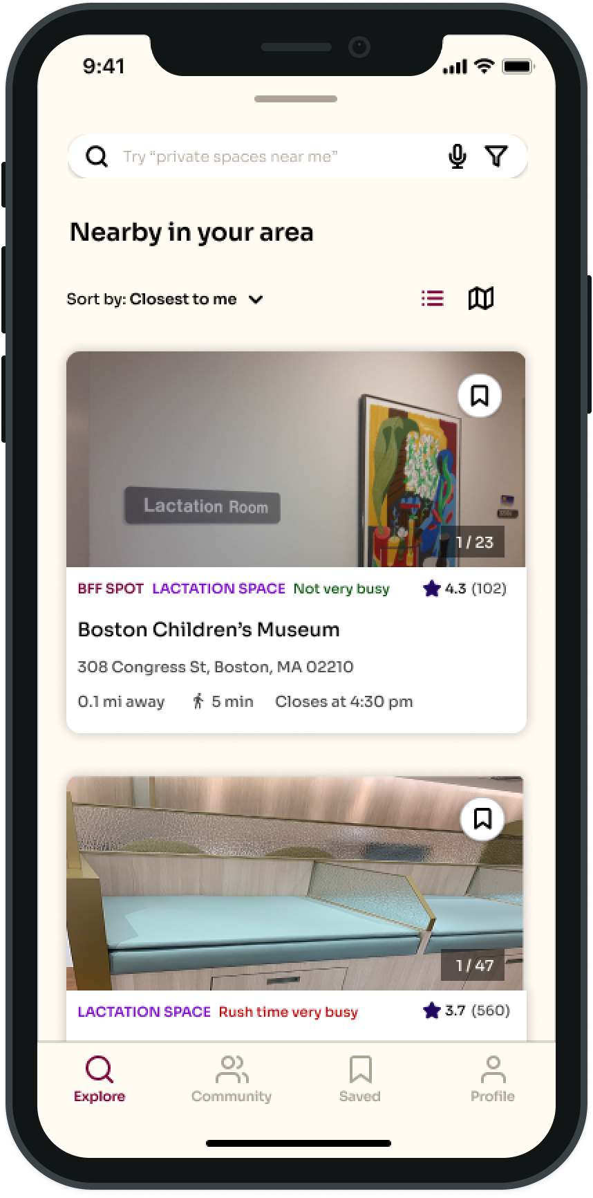 An iOS app showing nearby lactation spaces.