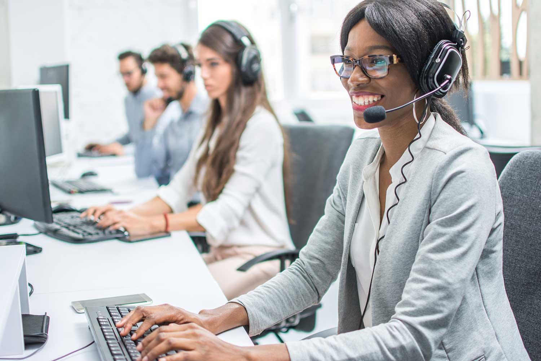 Women work in a call center