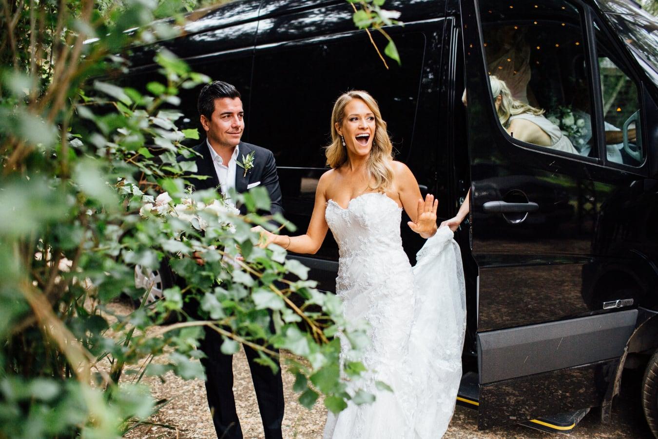 Bride and Groom exiting Swoop Van
