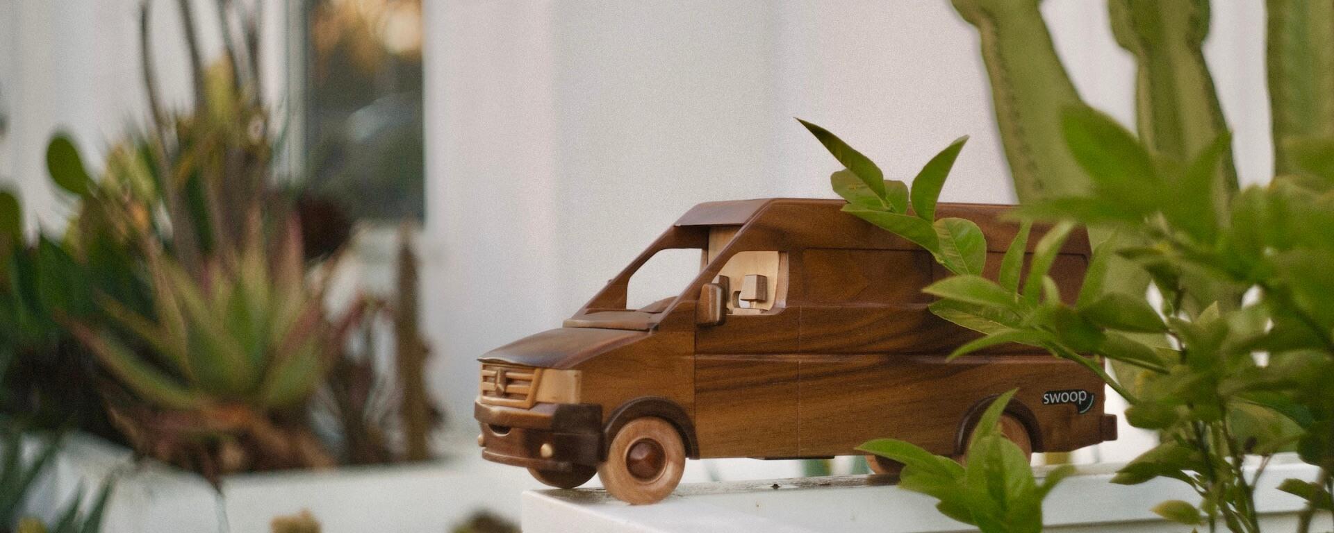 Wooden toy of swoop van in front of a plant