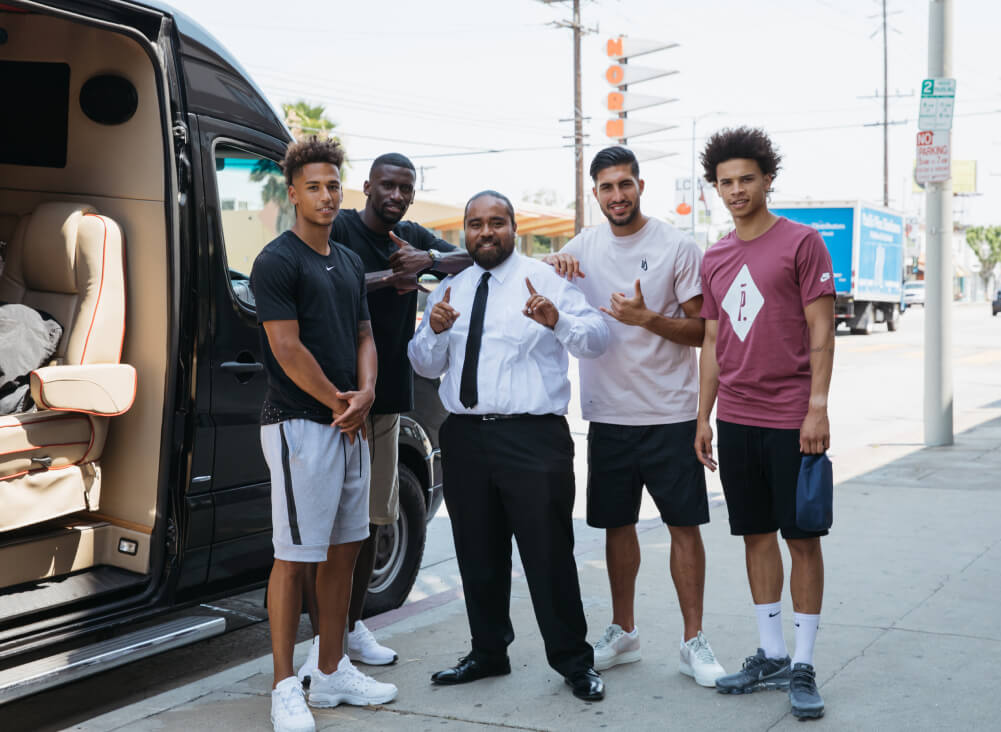 Group of soccer players with Swoop driver