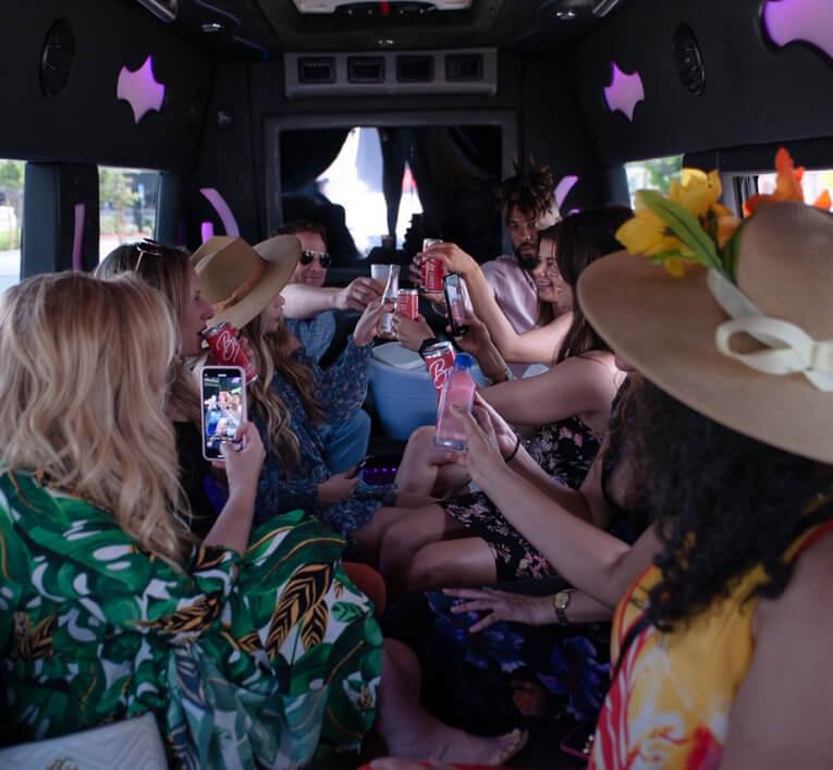 Bachelorette party inside of Swoop Party van