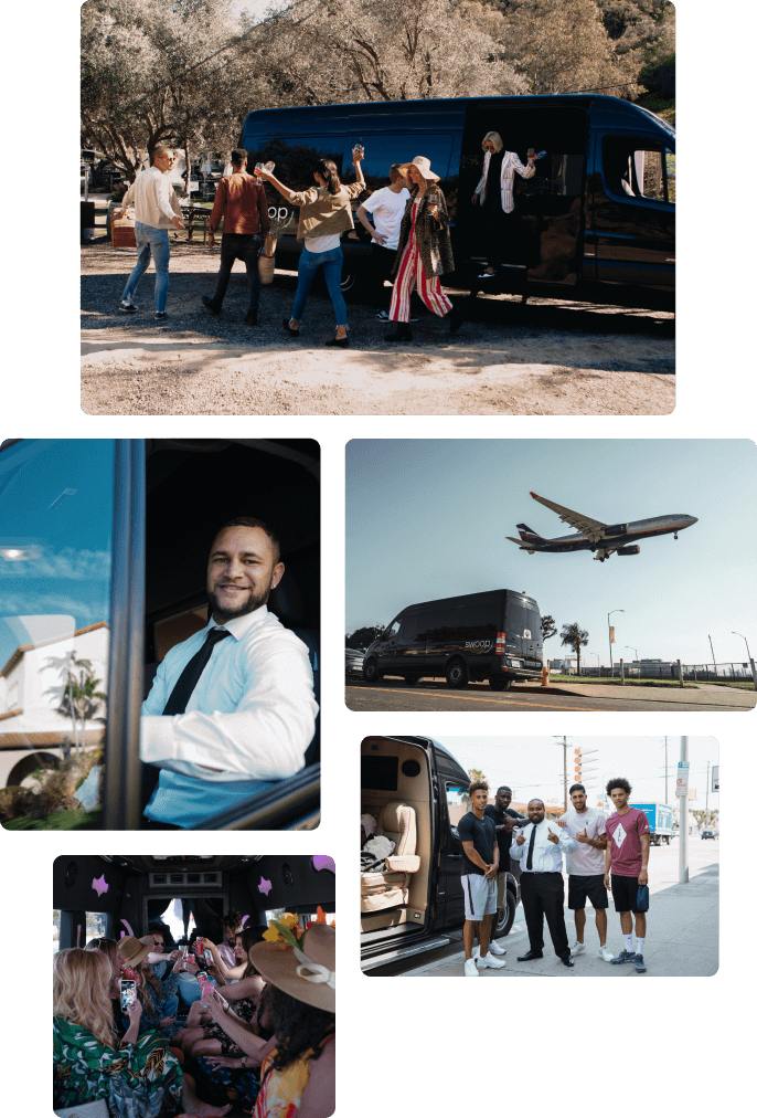 Images of people using Swoop Transportation